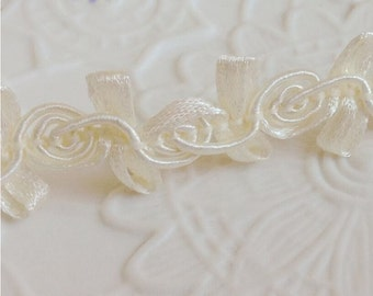 "15 yard 1.5cm 0.59"" wide ivory braided embroidered tapes lace trim ribbon 3350 free ship"