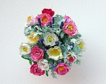 Miniature decorated china pot with roses and lavender for the dolls' house in 1/12th scale, one inch scale