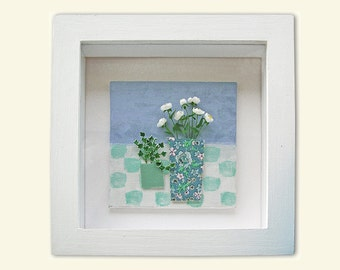 Original framed still life mini painting with flowers, floral art, peonies and ivy, great gift for dolls house lovers