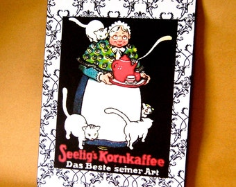 Art Deco Cat Lady Sign, Old Lady with Red Teapot & White Kitties, Handmade, Detailed Vintage Style