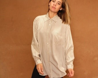 SILK women's striped oversize OXFORD bright spring norm core sheer shirt