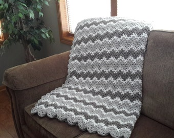 FAST SHIPPING, throw blanket, ripple, chevron, crochet blanket, lap afghan, crocheted blanket, crocheted afghan,  gray and white home decor