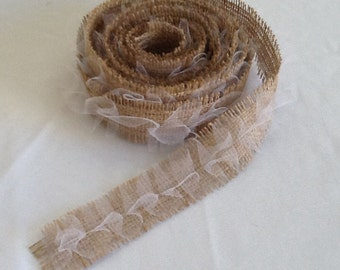 Burlap and Tulle Ribbon, Garland, Frayed Burlap and Ruffle Tulle Ribbon, READY to SHIP, Wedding, Shower, Party, Home Decor, Garland