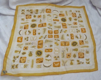 Beautiful Large Yellow Floral Cotton Hankie Handkerchief - Unused NWT