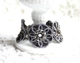 Charcoal Tatting Lace Fiber Beaded Cuff Bracelet