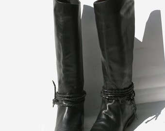 PERFECT vintage black leather RIDING boots 6.5 / 6