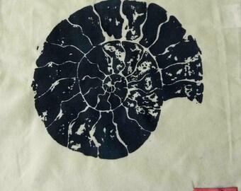 Handprinted Cotton Tote Bag with Ammonite Design