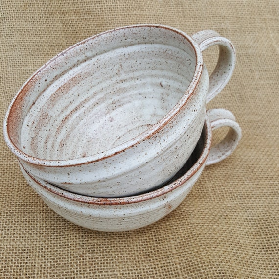 Rustic Pottery Pair Of Soup Mugs Pottery Soup Bowl With