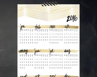 2016 Yearly Printable Calendar - Golden Days