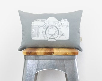 12x18 or 16x16 Vintage Camera Pillow Cover | Light Gray and White | Decorative Throw Pillow Case | Industrial Home Decor | Neutral Tones