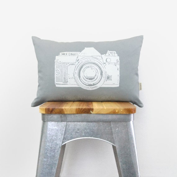 12x18 Vintage Camera Pillow Cover | Light Gray and White | Decorative Throw Pillow Case | Industrial Home Decor | Neutral Tones