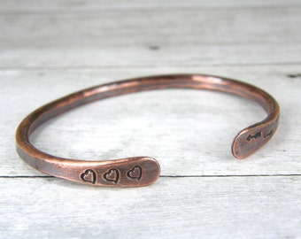 Arrow & Heart Copper Bracelet, Hand Stamped Cuff, Hammered Bangle in Mens or Womens