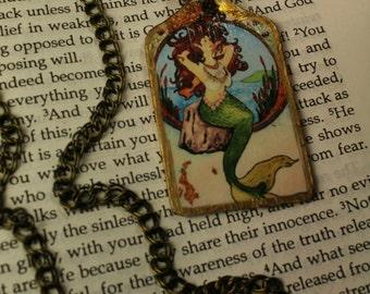 Vintage Mermaid Image Tag Necklace Handmade Pendant Necklace Urban Gypsy Indianapolis Shop