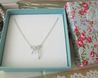 Bow Tie sterling silver necklace, CZ bow sterling necklace, Minimalist
