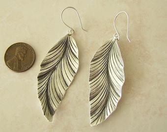 Large Leaf Sterling Silver Earrings, like real leaves, SALE