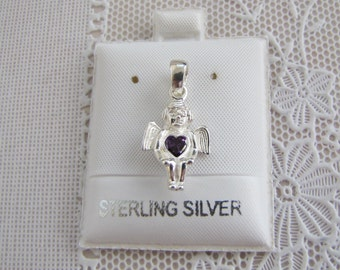 Angel Sterling Silver Pendant Charm with Amethyst CZ, SALE