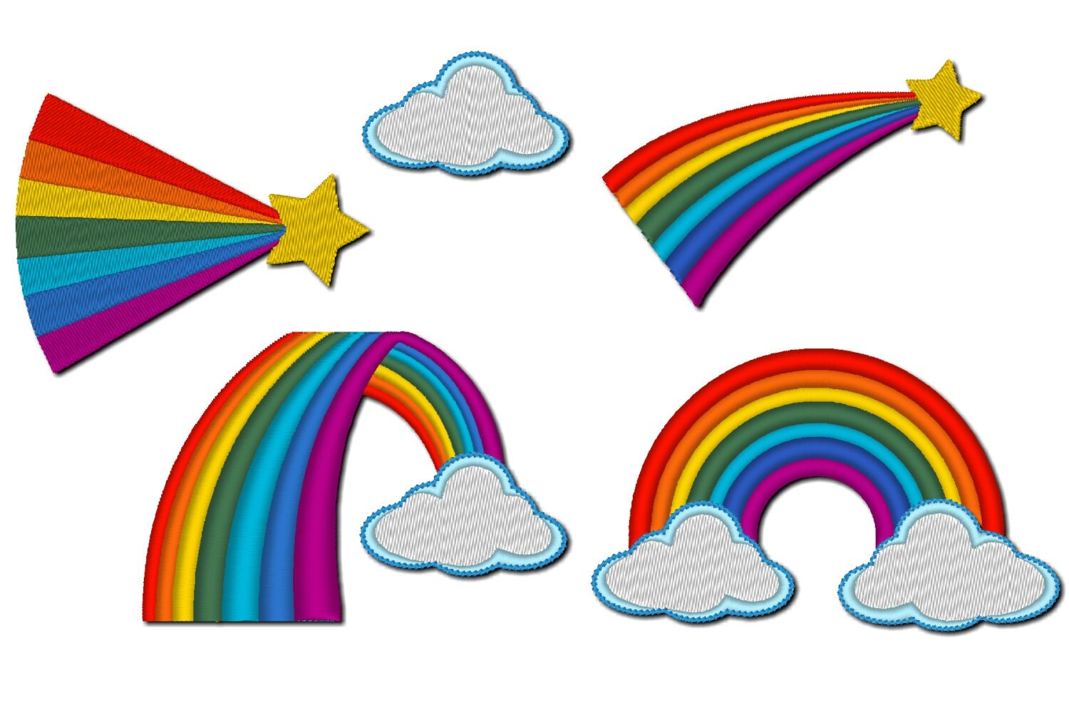 Rainbows collection rainbow embroidery designs rainbow for Arcobaleno design