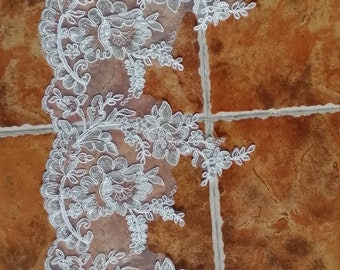 Ivory Alencon Lace Fabric Floral Wedding Lace Fabric With Silver Thread For Dress Coat Fabric 8.46 Inches Wide 1 Yard