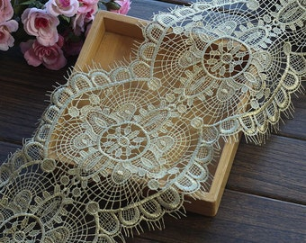 Gold Lace Trim Gorgeous Baroque Crocheted Eyelash Lace Trim Antique Lace 7 Inches Wide 1 Yard Wedding Dress Costumes Supplies