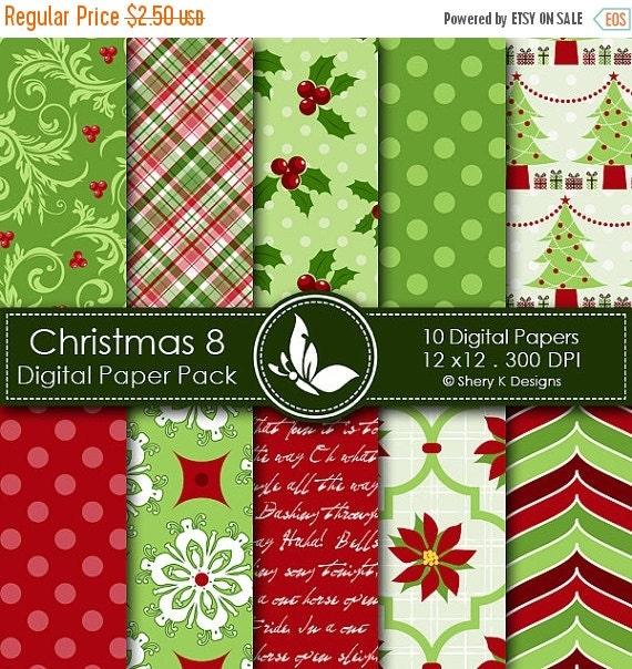 50% off Christmas 8 Paper Pack - 10 PrintableDigital papers - 12 x12 - 300 DPI ////// 8