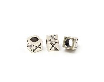 Alphabet Beads Sterling Silver 4mm Alphabet Blocks X - 1pc (3191)/1