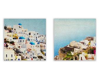 Mediterranean Photography, teal home decor, aqua wall art, Santorini Photography, Greece photography, colourful - Two Fine Art Photographs