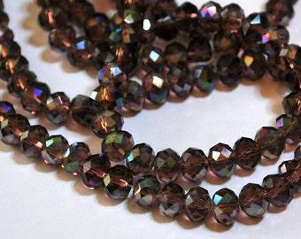 20 pcs 8x6mm Transparent Firepolished Amethyst Plum Wine AB Rondelle Glass Beads
