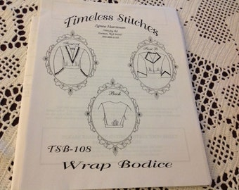 "WOMAN'S WRAP BODICE-Timeless Stitches Pattern-sizes bust 30""-56""-civil war-uncut"