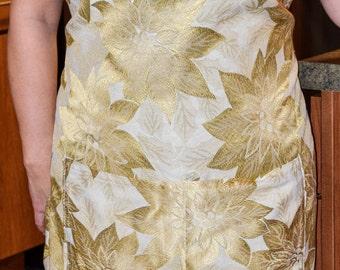 Gold and White Poinsettia Apron