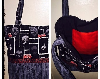 The Walking Dead Tote Bag/ Purse with Zombie Handprint Ribbon