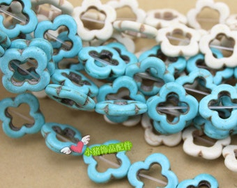 20pcs 20mm Composite Stone  Turquoise Flower Shape  Beads  2 Colors