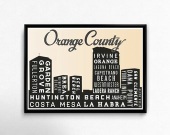 Poster Print, CALIFORNIA Skyline, Orange County Retro Art, Pop Art, Typographic Print, Home Decor, City Art Print, 18 x 24