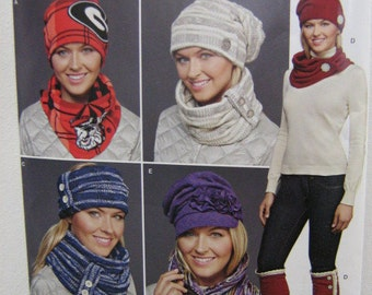 Fleece or Knit Hat Pattern, Scarf, Headband, Boot Topper Patterns, Simplicity J 0207, Super Cool Winter Accessories Patterns, Sizes S, M, L