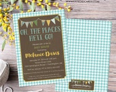oh the places you will go invitation map baby boy shower birthday baptism graduation world travel bash (item 1219) shabby chic invitations