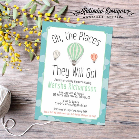 oh the places you will go hot air balloon invitation map baby shower gender reveal neutral couples world travel bash 1454 clouds pre party