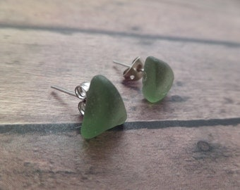 Scottish Jewelry, Beach Glass Earrings from Scotland, Small Post Earrings with Green Seaglass, Stud Earrings