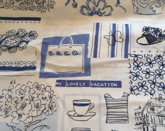 """1 Yard My Lovely Vacation  Blue and White Cotton Fabric 44"""" Wide"""