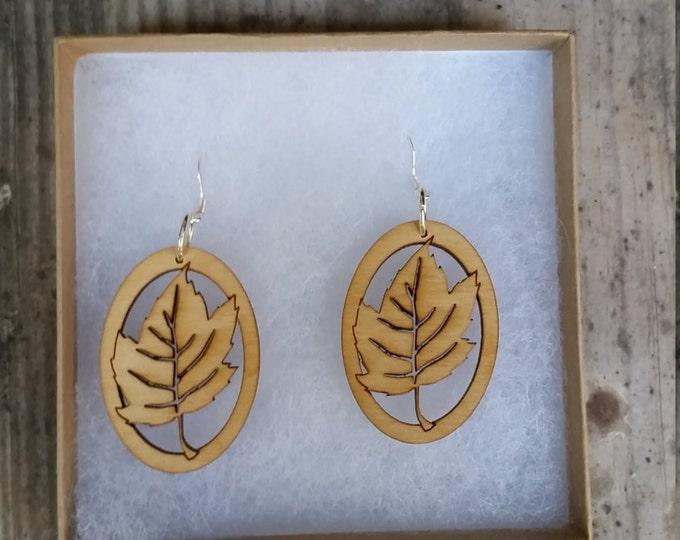 Laser Cut Maple Leaf Earrings