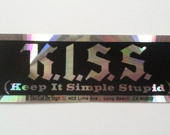 1980s Keep It Simple Stupid KISS AA NA sticker prism reflective clean sober recovery Alcoholics Anonymous