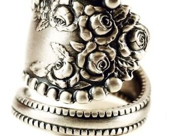 Silver Rose Ring, Floral Ring, Sterling Silver Spoon Ring, Vintage Victorian Rosebud Ring, Gorham Lancaster, Adjustable Ring Size (5808)