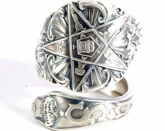 O.E.S. Spoon Ring, Order of the Eastern Star, Masonic Freemason, Sterling Silver, Ruth, FATAL, Custom Ring Size, Order of Eastern Star, 5804