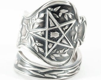 OES Ring, Order of the Eastern Star Ring, Masonic Ring, Sterling Silver Spoon Ring, Freemason Ring, Holy Bible Ring, Adjustable Ring Size