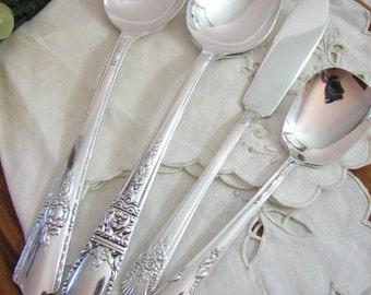Art Deco Mismatched 4-Pc Hostess Set #23, Vintage Silverplate Flatware, Antique Serving Spoons, Butter, Sugar, Silver Plate Serving, Fine