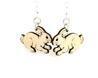 Cute Bunny Earrings - Lightweight - Eco Friendly Wood Earrings