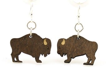 Buffalo Earrings - Reforested Wood Earrings