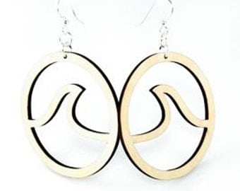 Wave in Circle Earrings - Laser Cut out of Reforested Wood
