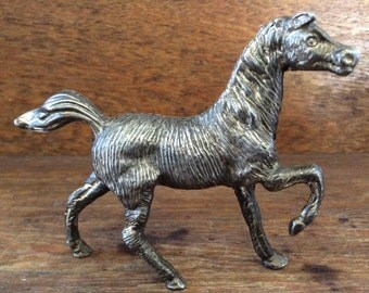 Vintage English horse stallion metal decor ornament figurine circa 1950-60's / English Shop
