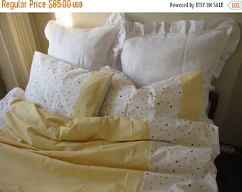 sale UK Single Twin XL duvet cover with pillow cover college dorm room Girl bedding White yellow Pink polka dot romantic,Shabby chic bedding