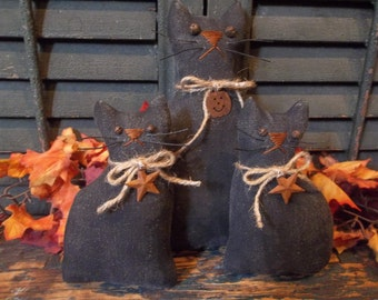 Trio of Primitive Handmade Black Cats - Fall and/or Halloween Decoration