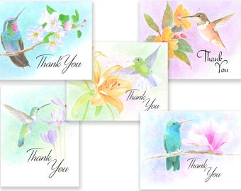Beautiful and Colorful Humming Bird Thank You note cards, w/envelopes